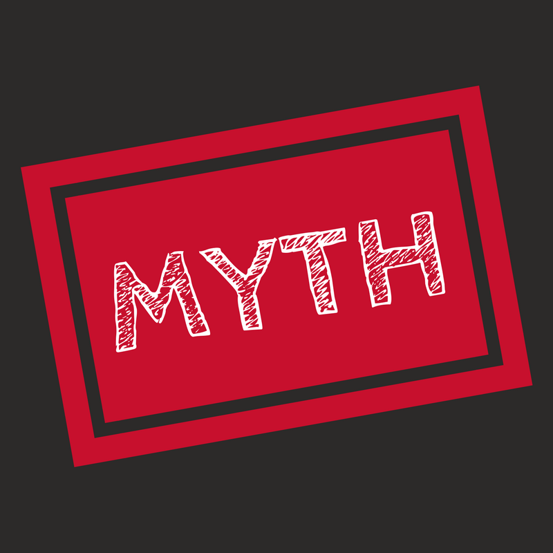 The word 'myth' written in white in a red square on a black background
