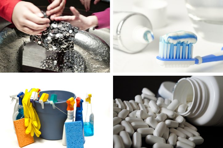 Collage of images featuring small coins, toothpaste, household cleaners, and over-the-counter pain relievers.