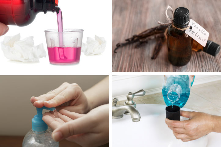 Four photo collage featuring liquid medication, essential oil, hand sanitizer, and mouthwash.