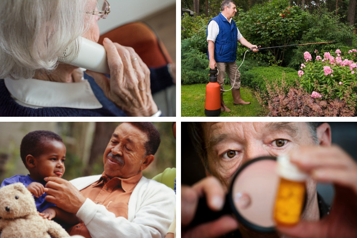 Collage of images featuring older adults engaged in activities that might lead to a call to the poison center.
