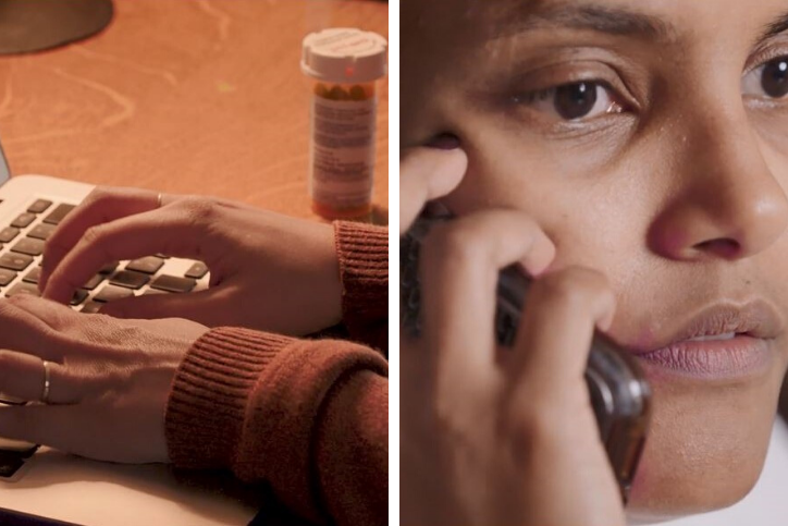 A collage with the left side showing a person typing on a laptop with a pill container sitting next to it. The right side is showing a person holding a cellphone up to their ear.
