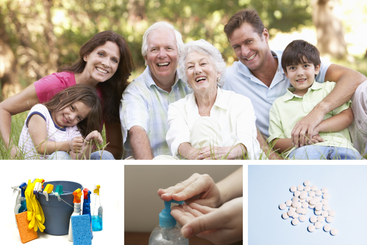 Collage with a multi-generational family, cleaning products, hand sanitizer, and white pills.