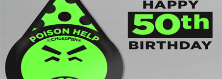 """An image containing Mr. Yuk with a birthday hat on and text saying """"Happy 50th Birthday"""""""