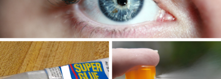 A collage with a person's eye on top, a tube of superglue on the bottom left and a sprayer on the bottom right.